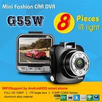 G55W New Car DVR WIFI Camera Video Recorder 1080P Full HD 30fps + 170 Degree Wide Angle Lens+Night Vision G-sensor Motion Detect