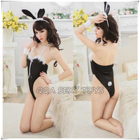 QS058-15     Temptation cosplay women teddy  halterneck black erotic lingerie with hair bands sexy rabbit costumes