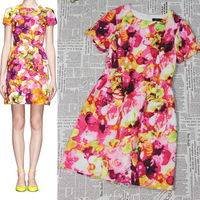 Cute Retail O neck Floral print beach dress cocktail/formal/party Dress DY623 -Free Shipping