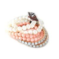 SZ82 Accessories wholesale with the texture multilayer shining pearl bracelet