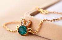 New arrival fashion cute bunny emerald bracelet S141