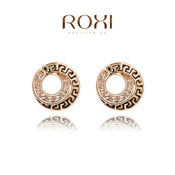 Roxi элегантные женские серьги ручной работы, винтажный стиль, выполнены из красного золота (позолота), с трех разовым золотым напылением, серьги украшены австрийскими кристаллами, супер дизайн