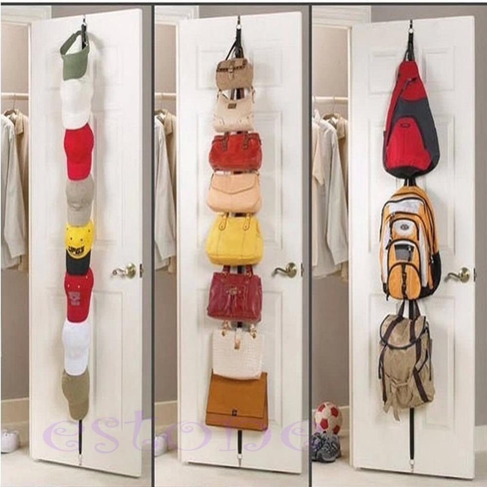 Free Shipping Adjustable Over Door Straps Hanger Hat Bag Coat Clothes Rack Organizer 8 Hooks(China (Mainland))