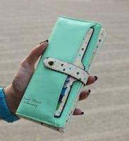 Free Shipping Two Fold Hasp Lovely Checkbook Change Coin Phone Bag Women Purse Handbag Ladies Wallet