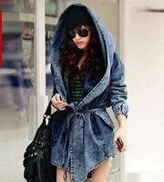 2014 New Fashion Europe Autumn Women's Lady Girls Denim Coat Hoodie Hooded Outerwear Jean Jacket Outwear, Free & Drop ShIpping