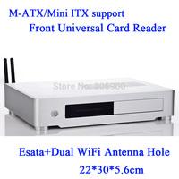 Swappable hard drive activity LED M-ATX ESATA MATX MINI ITX motherboard aluminum HTPC chassis mini embedded itx ipc chassis
