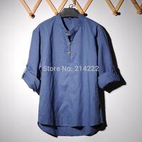 Men's Shirts ,Free Shipping Loose Big Size Cool Stand Collar Casual Linen Men's Dress Shirts Solid Long Sleeve Shirt men