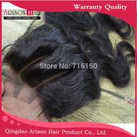 lace closure brazilian virgin hair body wave 3.5x4 knots bleached clear 2 part top closure