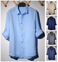 New Sales !! 2014 Free Shipping High Quality Long Sleeve Linen Casual Mens Dress Shirts  ,Men's Loose Fashion Shirt Men