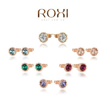 Roxi женские серьги-гвоздики ручной работы, выполнены из красного золота (позолота), с трех разовым золотым напылением, украшены австрийскими кристаллами, 5 цветов