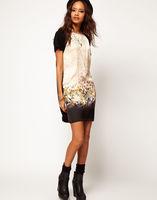 2014 new HOT Europe fashion Women's summer Leopard Head Print Shift one Piece chiffon cotton Dress S M L