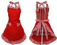 Cute Red Women Kitchen Wearing Apron Cotton Flirty Cooking Aprons Grid Pattern Bowknot Pocket Design