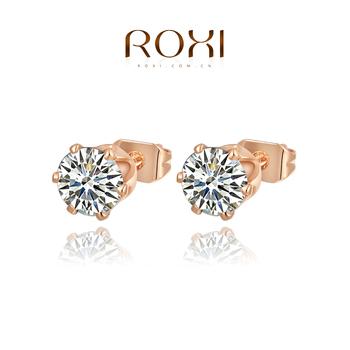 Roxi элегантные женские серьги-гвоздики ручной работы, выполнены из красного золота (позолота), с трех разовым золотым напылением, серьги украшены камнями из швейцарского циркония, высокое качество
