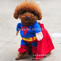 Hot Sale!!! Superman Puppy Cotton Dog Pet Clothes Dog  Clothes Halloween Apparel Costumes Outfit Suit S,M,L,XL,XXL