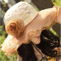2014 Summer women UV Sun Hat, Breathable Chiffon Sunhat Five Colors Sweet Flower Women's Foldable Sun Bonnet