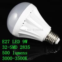 FREE SHIPPING new  E27 9W 32-SMD 500 lumens 220V AC 3000-3500K warm white light bulbs