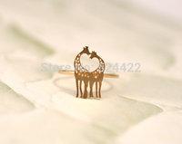 Free Shipping 10pcs/lot Cute two giraffes ring heart neck shape ring cute animal pattern ring JZ050