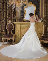 Free Shipping New 2014 Strapless Sheath A-line Chapel Train with Appliques Backless Wedding Dress