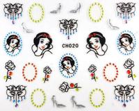 Nail Art 3D Nail Stickers Black Snow White Princess with Rhinestone 12 Styles Cartoon Decals 100pcs/Lot New 2014 Free Shipping