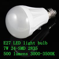 FREE SHIPPING new  E27 7W 24-SMD 2835 500 lumens 220V AC 3000-3500K  warm white light bulbs