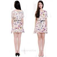 2014 New Dress Women Birds Printed Bat Short Sleeve Crew Neck Chiffon Mini Dress Belt Y45*E2670#S7