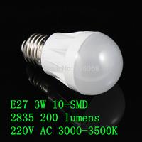 FREE SHIPPING new  E27 3W 10-SMD 2835 200 lumens 220V AC 3000-3500K  warm white light bulbs