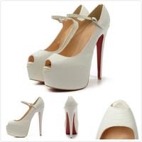 Women Brand Designer Red Bottom High Heels Pumps 2014 Women White Buckle Open Toe High Heel Genuine Leather Pumps Wedding Shoes