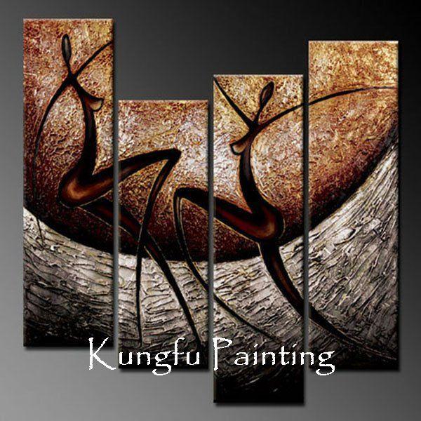 COM4-5024 100% pintadas à mão boa qualidade melhor lona dança Pintura abstrata 4 painel de pintura de parede de acrílico grupo(China (Mainland))