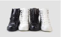 new 2014 Korean version of men's casual shoes, shiny patent leather high-top shoes men boots hip-hop men sneakers ga-79