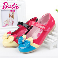 Hot Sale Original Brand Barbie Girls' Casual PU Children's bowknot Leather Shoes 2014 New Kids Color 26-33 Size Free Shipping
