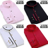 Mens Occupation shirt fashion casual solid slim fit colorful Mandarin collar desigual dress shirts long sleeve men XS-XXXL 4102