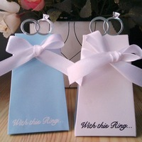 Ring-shaped Wedding Favor Gifts Chocolate Boxes in Blue & White with Ribbon 100pcs for Wedding Party Free Shipping