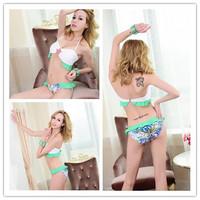 New 2014 Fashion Print Bikinis Set For Women Push Up Padded Swimwear Bikini High Waist Colored Floral Print Brazilian Swimsuit