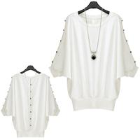 2014 Spring Fashion Batwing Sleeve Tops Button Decoration Shirt  Cutout Slim Waist T Shirt Female Tee Shirts White  FE3071#M1