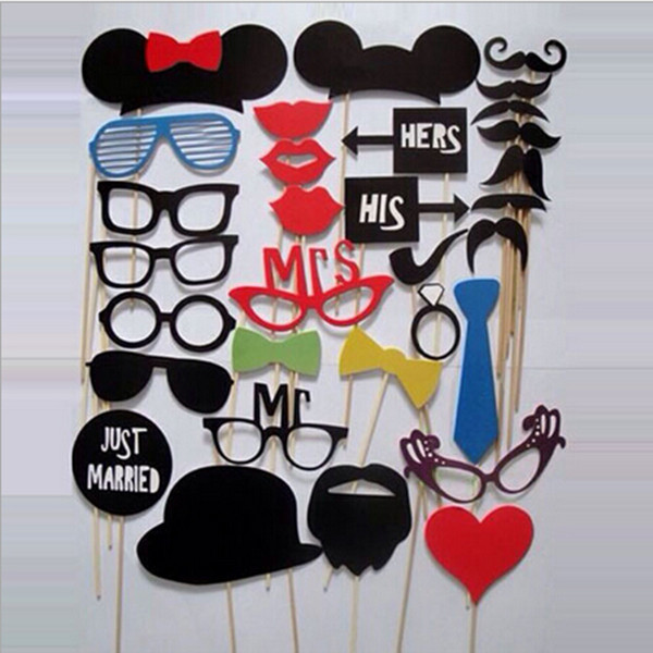 1Set/31pcs DIY Party Masks Photo Booth Props Mustache On A Stick Wedding Party Favor New Arrival(China (Mainland))