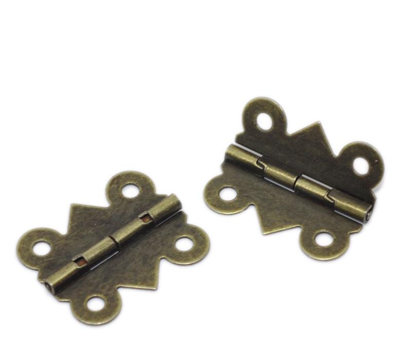 "50PCs Bronze Tone 4 Holes Cabinet Door Hinge 20x24mm(6/8""x1"") Free Shipping(China (Mainland))"