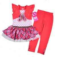 New YOUNG HEARTS summer suit, Baby girls 2pcs set with short sleeve dress tops + pants, Children clothing set, 4sets/lot-1CY9326