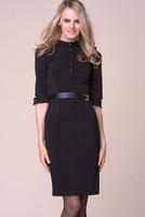 2014 Hot Sale Women Black Half Sleeve Knee-Length Victoria Style Dress S M L XL