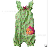 2014 Wholesale Girl Floral Rompers  Summer Sleeveless Infant Clothes  6-24M