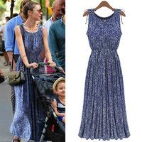 women summer clothing casual long dress bohemian vintage floral print sleeveless vest women's chiffon maxi dresses