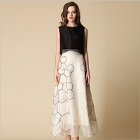 2014 summer new arrival Europe style women's fashion Silk dress Round collar sleeveless dresses black/apricot color