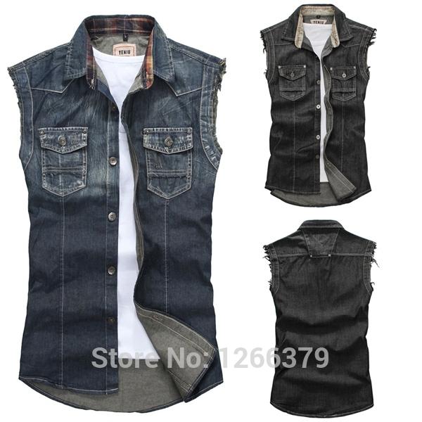 Mens blue denim sleeveless jean jacket – Novelties of modern ...