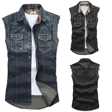 Classic Vintage Mens Jeans Vest Tops Sleeveless Casual Fashion Jeans Jacket Tops Black Blue Size M-XXL Free Shipping(China (Mainland))