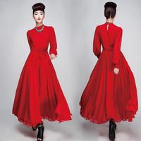 2014 Free shipping The new fashion Long Slim chiffon red  elegant party dress women ALK9001-1-114 prom beautiful girls dress