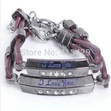 Top quality handmade leather cupid I love you more bracelets