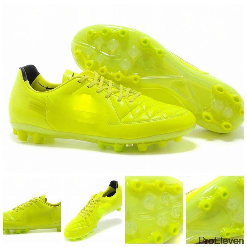 2014 copa do mundo Tiempo Legend V AG chuteiras Rooney futebol botas amarelo Kangeroo couro baratos chuteiras homens Athletic Shoes(China (Mainland))