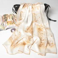 180x70cm 2 Colors 124087 2014 Newest Women's 100% Silk scarf,100% Silk scarves, rectangle silk scarf, Free Shipping Muslim Hijab