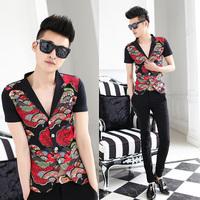 Free shipping! 2014 summer new fashion Slim suit collar short sleeve men's shirt
