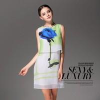 2014 Free shipping Career Women's Sexy Sleeveless Crew Neck Casual 100%Silk  Sundress Top Mini Dress