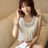 2014 summer models fold sleeveless chiffon vest harness diamond white chiffon shirt short-sleeved shirt